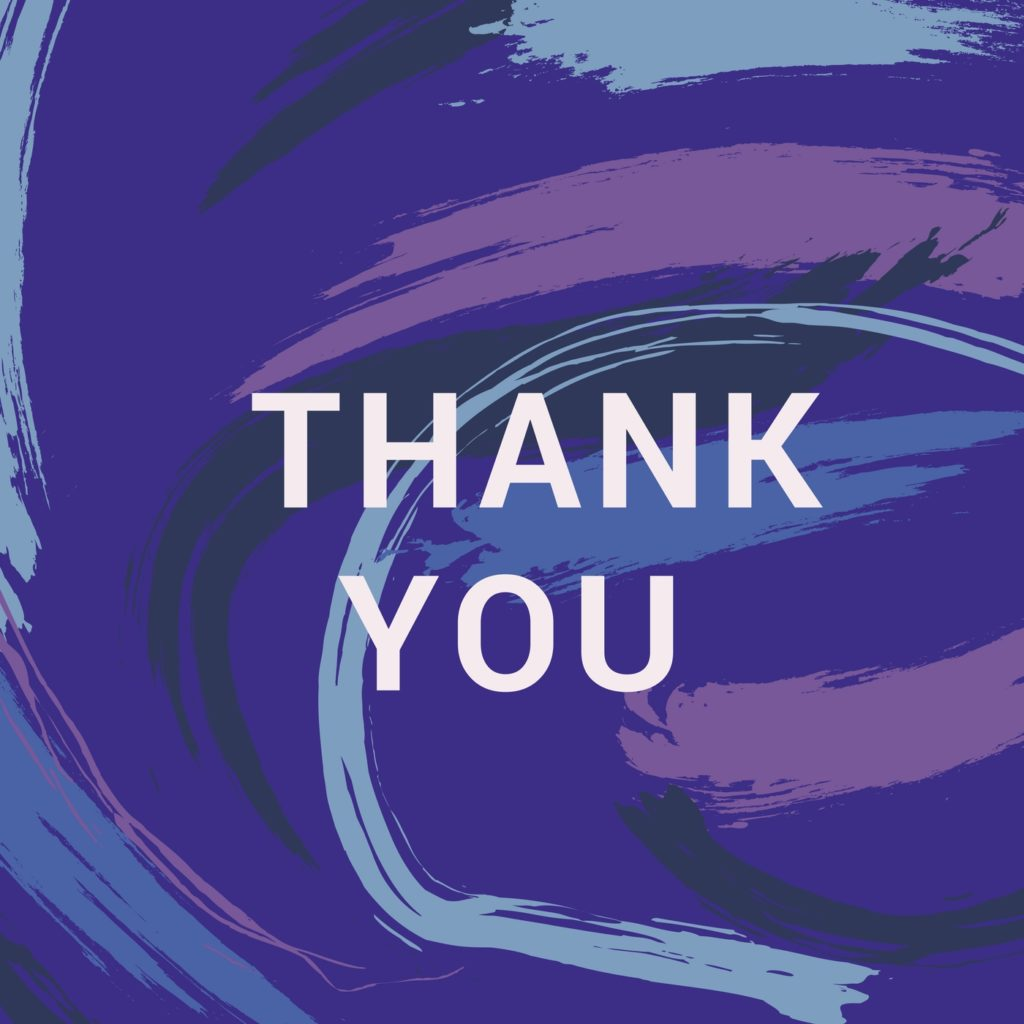 Thank you on a painted background with purple and blue streaks