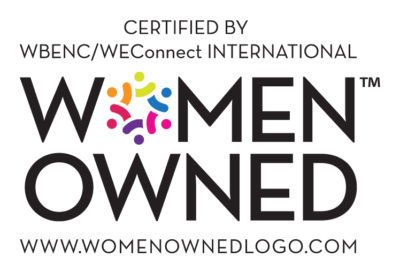 A logo with the words women owned and the website www.womenownedlogo.com
