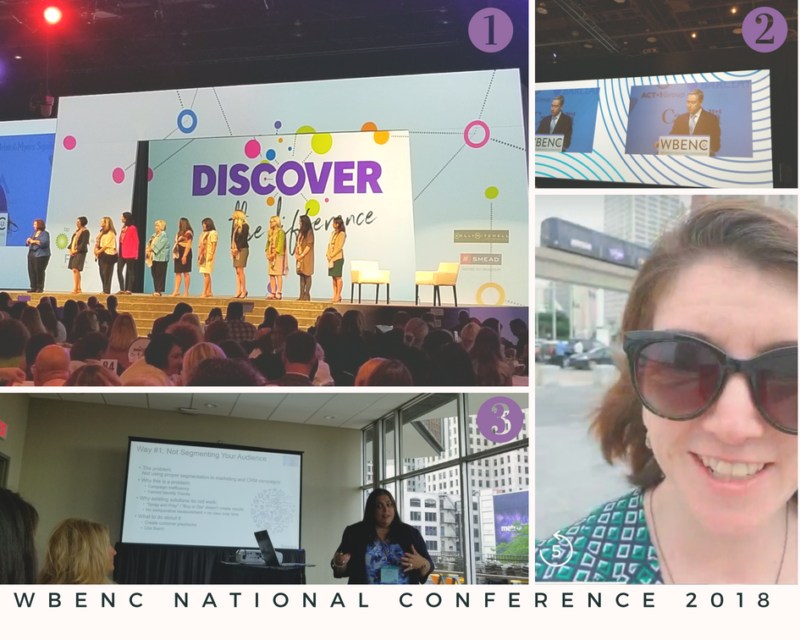 There are four photos pictured with numbers. Number 1 shows a group of women on a stage at a conference, Number 2 shows a man speaking behind a podium, Number 3 shows a woman giving a powerpoint presentation and number 4 is a photo of the author in front of Detroit's people mover train.