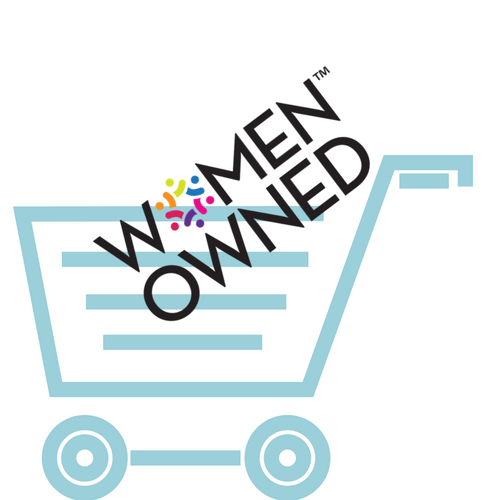 A picture of a logo that says women owned in a shopping cart