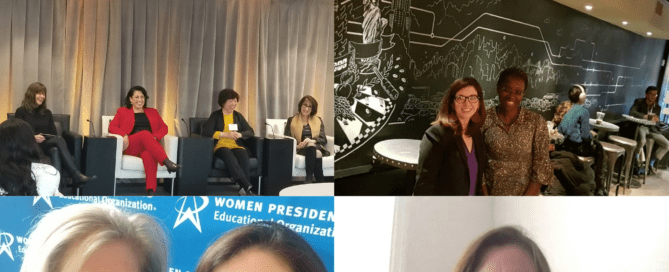 A series of pictures showing women business owners speaking, educating, and celebrating