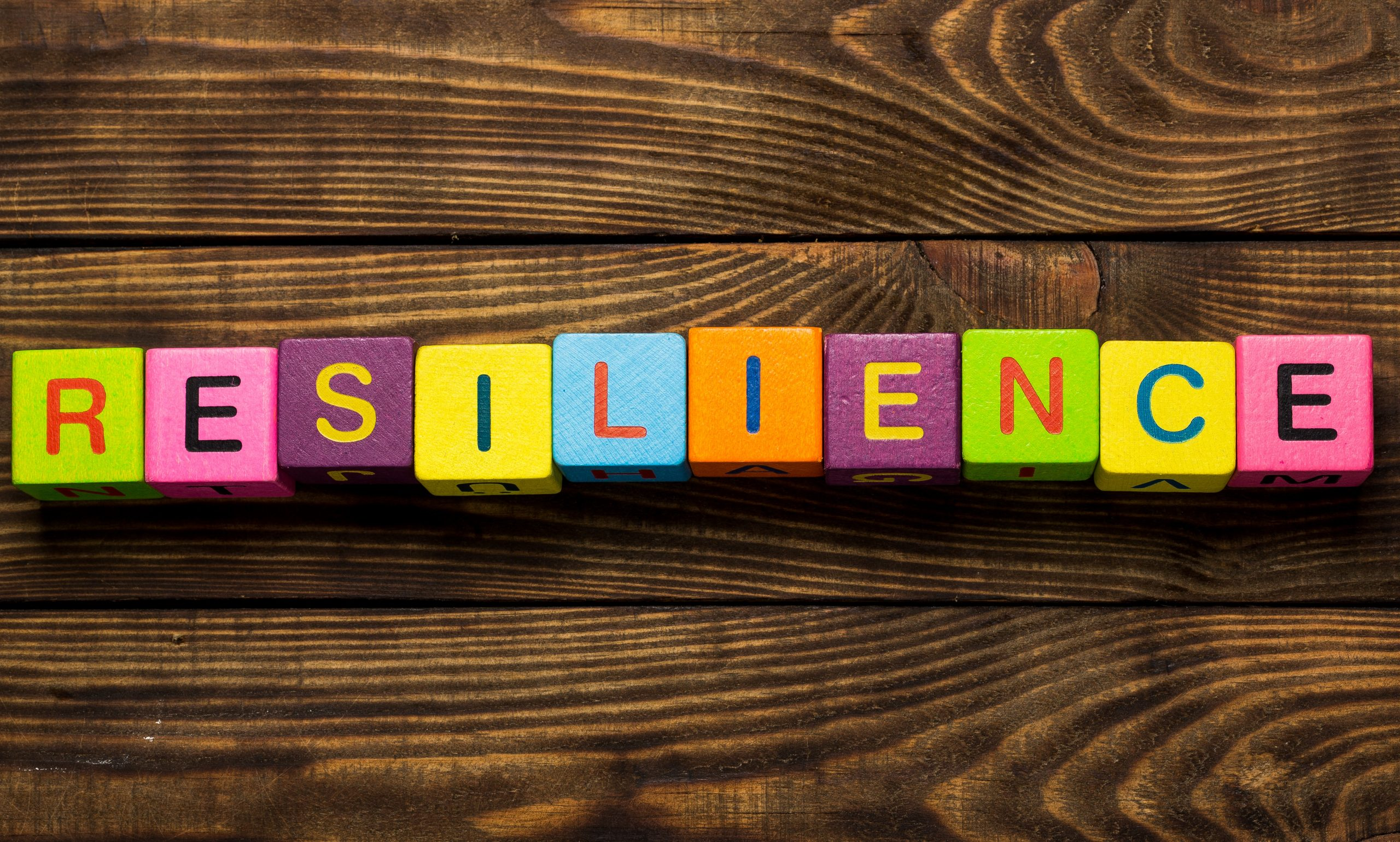 Wooden blocks that spell out resilience