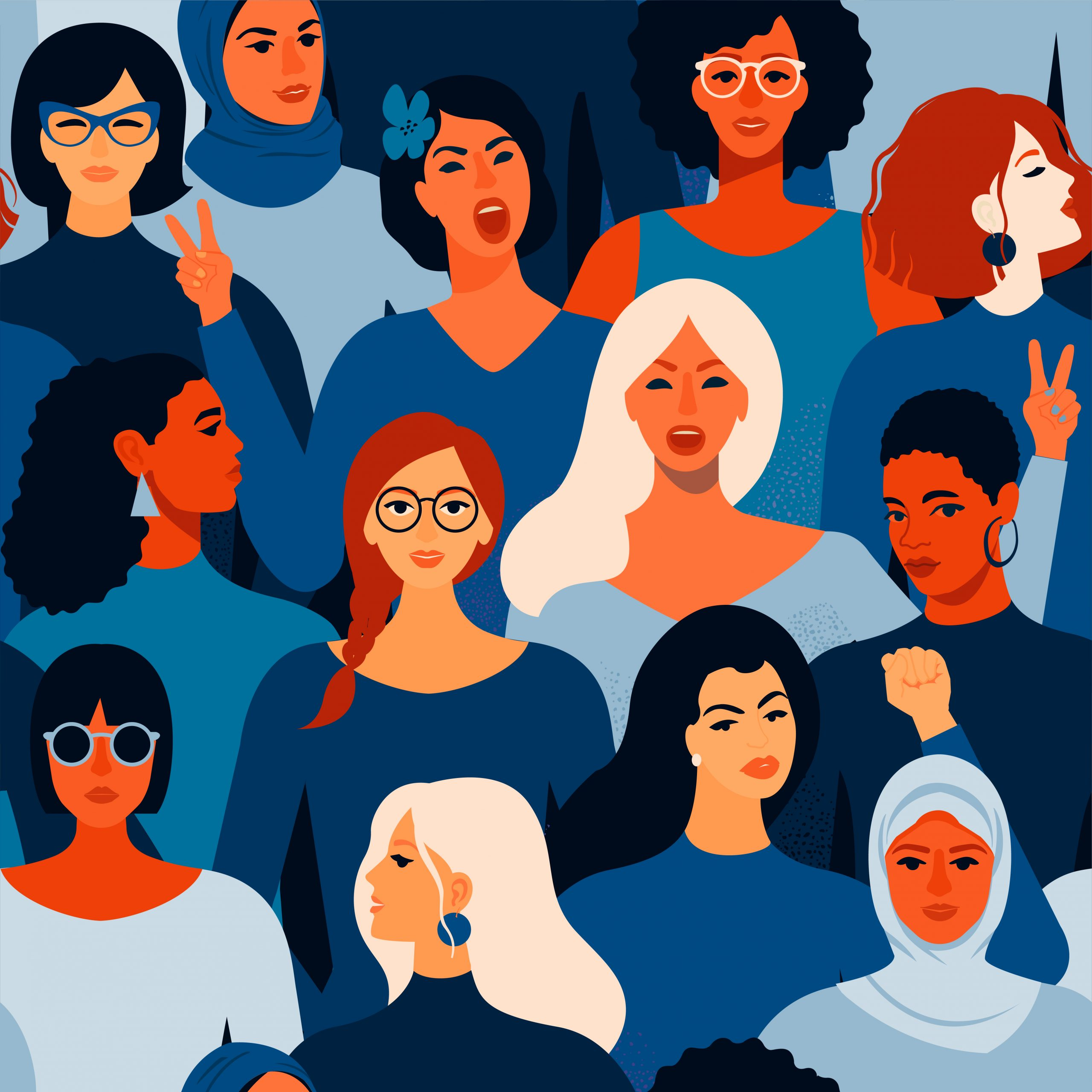 An illustration of different women's faces