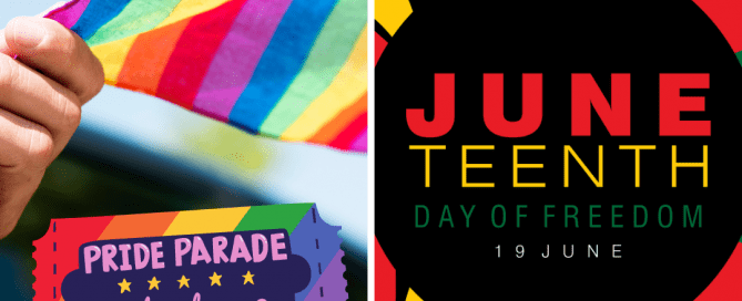 Flags and images for Pride on the left and Juneteenth on the right for, which provide opportunities diverse owned businesses