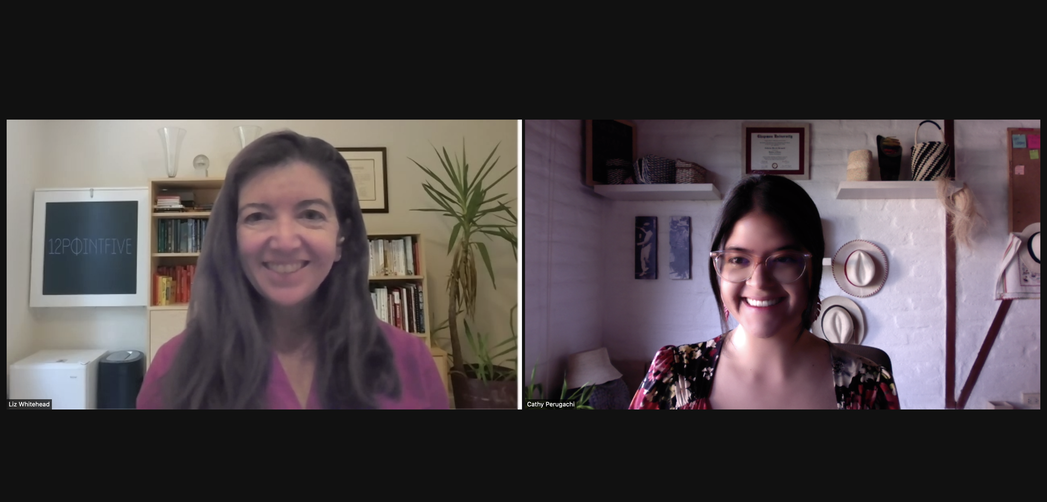 A zoom screenshot of Liz Whitehead and Cathy Perugachi smiling and collaborating from the U.S. and Ecuador, respectively