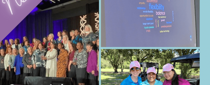 Three separate images related to celebrating WPO Chapter Chairs (Left), Transformation in the workplace (top right), and three women golfing (bottom right). All of them show people getting together to experience the new normal.